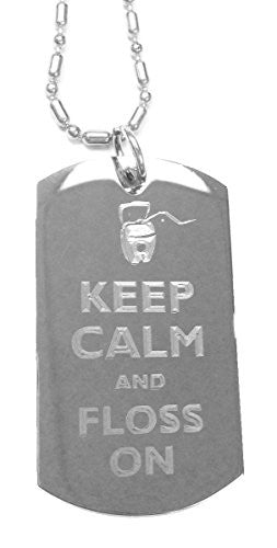 Keep Calm and Floss On Dental Floss - Luggage Metal Chain Necklace Military Dog Tag