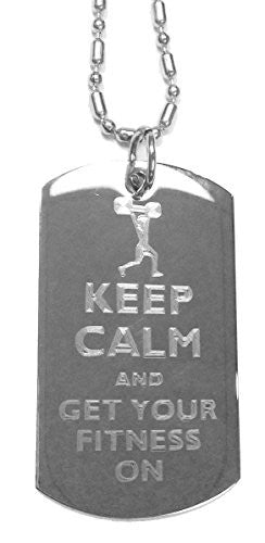 Keep Calm and Get Your Fitness On Weight Lifter - Luggage Metal Chain Necklace Military Dog Tag