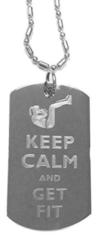 Keep Calm and Get Fit Lady Sit Ups - Luggage Metal Chain Necklace Military Dog Tag