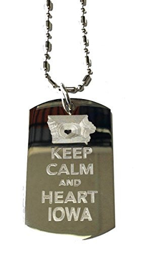 Keep Calm and Heart / Love Iowa - Military Dog Tag, Luggage Tag Metal Chain Necklace