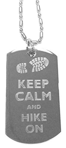 Keep Calm and Hike On Boot Print - Luggage Metal Chain Necklace Military Dog Tag