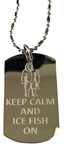 Keep Calm and Ice Fish On - Military Dog Tag, Luggage Tag Metal Chain Necklace