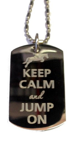 Keep Calm and Jump On Jockey & Horse - Military Dog Tag, Luggage Tag Metal Chain Necklace
