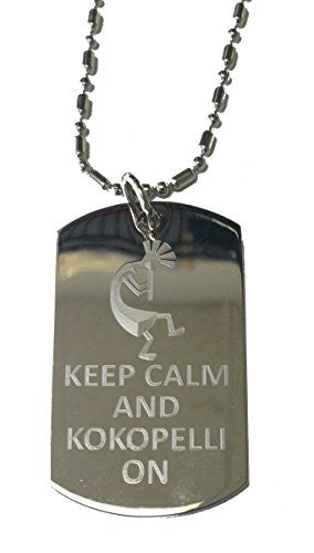 Keep Calm and Kokopelli On Rasta - Military Dog Tag, Luggage Tag Metal Chain Necklace