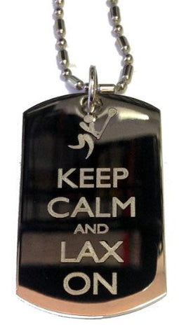 Keep Calm and Lax On Lacrosse Sport - Military Dog Tag, Luggage Tag Metal Chain Necklace
