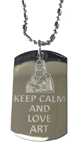 Keep Calm and Love Art - Military Dog Tag, Luggage Tag Metal Chain Necklace