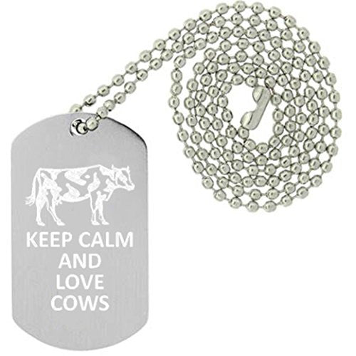 Keep Calm and Love Cows - Military Dog Tag, Luggage Tag Metal Chain Necklace