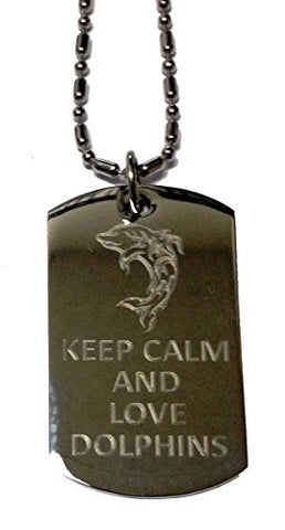 Keep Calm and Love Dolphins - Military Dog Tag, Luggage Tag Metal Chain Necklace