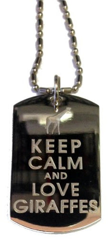 Keep Calm and Love Giraffes - Military Dog Tag, Luggage Tag Metal Chain Necklace