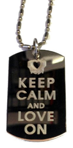 Keep Calm and Love On Hand Heart Symbol - Military Dog Tag, Luggage Tag Metal Chain Necklace