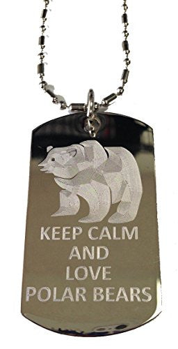 Keep Calm and Love Polar Bears - Military Dog Tag, Luggage Tag Metal Chain Necklace