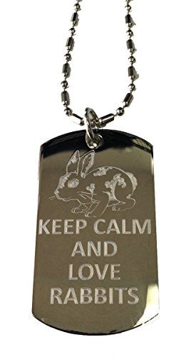 Keep Calm and Love Rabbits - Military Dog Tag, Luggage Tag Metal Chain Necklace