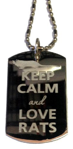 Keep Calm and Love Rats - Military Dog Tag, Luggage Tag Metal Chain Necklace