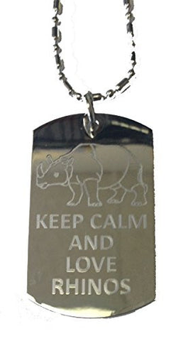 Keep Calm and Love Rhinos - Military Dog Tag, Luggage Tag Metal Chain Necklace