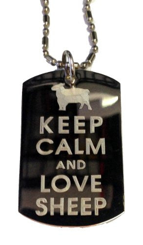 Keep Calm and Love Sheep - Military Dog Tag, Luggage Tag Metal Chain Necklace