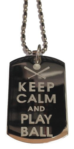 Keep Calm and Play Ball Baseball & Bat - Military Dog Tag, Luggage Tag Metal Chain Necklace