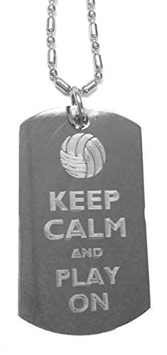 Keep Calm and Play On Volleyball - Luggage Metal Chain Necklace Military Dog Tag