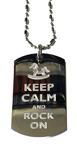 Keep Calm and Rock On Rocking Horse - Military Dog Tag, Luggage Tag Metal Chain Necklace