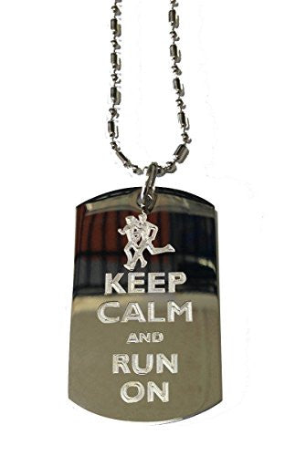 Keep Calm and Run On Runners - Military Dog Tag, Luggage Tag Metal Chain Necklace