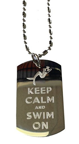 Keep Calm and Swim On Meramid - Military Dog Tag, Luggage Tag Metal Chain Necklace