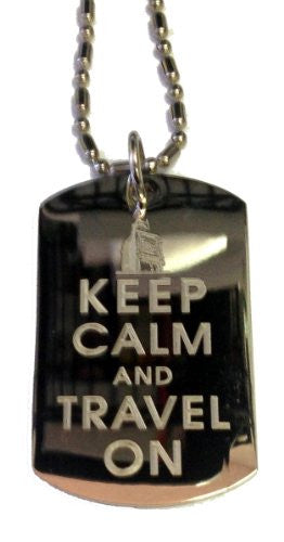 Keep Calm and Travel On Big Ben London - Military Dog Tag, Luggage Tag Metal Chain Necklace