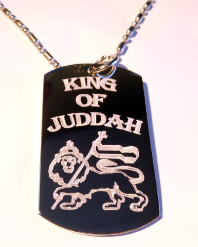 Rasta King of Juddah Lion Crest Logo Symbol - Military Dog Tag Luggage Tag Key Chain Metal Chain Necklace