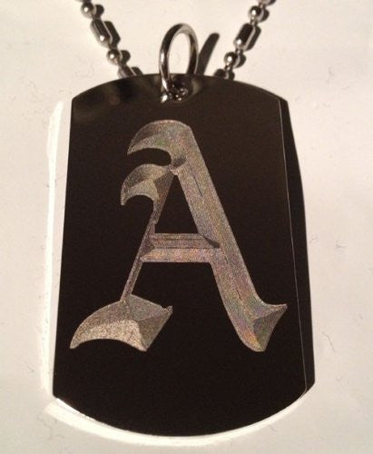 Letter A OLD English Font Initial - Military Dog Tag, Luggage Tag Key Chain Metal Chain Necklace