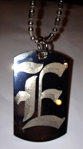 Letter E OLD English Font Initial - Military Dog Tag, Luggage Tag Key Chain Metal Chain Necklace
