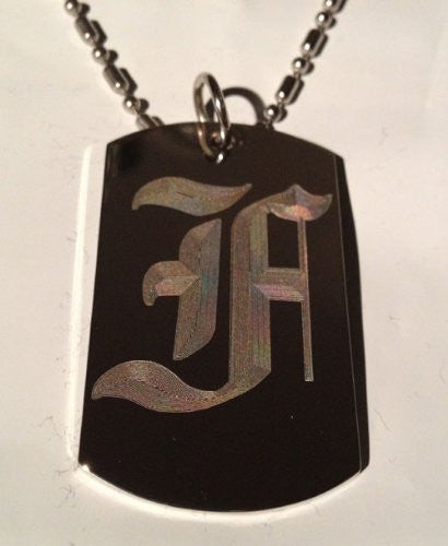 Letter F OLD English Font Initial - Military Dog Tag, Luggage Tag Key Chain Metal Chain Necklace