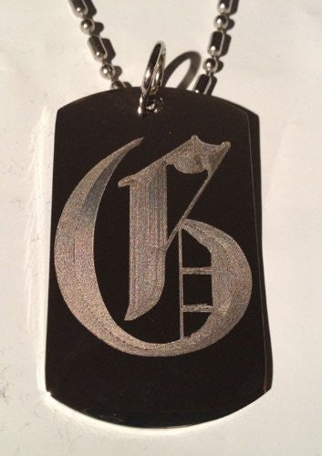 Letter G OLD English Font Initial - Military Dog Tag, Luggage Tag Key Chain Metal Chain Necklace