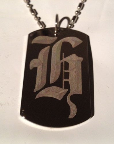 Letter H OLD English Font Initial - Military Dog Tag, Luggage Tag Key Chain  Metal Chain Necklace