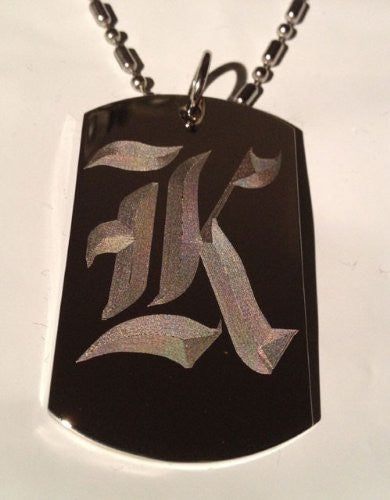 Letter K OLD English Font Initial - Military Dog Tag, Luggage Tag Key Chain Metal Chain Necklace