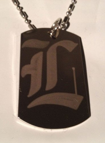 Letter L OLD English Font Initial - Military Dog Tag, Luggage Tag Key Chain Metal Chain Necklace