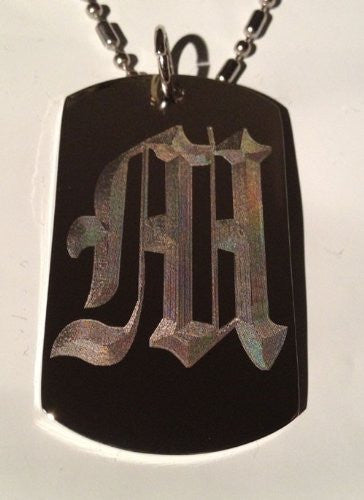 Letter M OLD English Font Initial - Military Dog Tag, Luggage Tag Key Chain Metal Chain Necklace