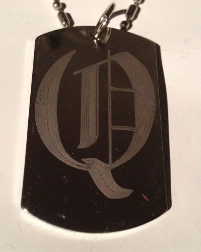 Letter Q OLD English Font Initial - Military Dog Tag, Luggage Tag Key Chain Metal Chain Necklace