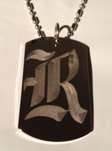 Letter R OLD English Font Initial - Military Dog Tag, Luggage Tag Key Chain Metal Chain Necklace