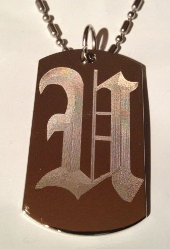 Letter U OLD English Font Initial - Military Dog Tag, Luggage Tag Key Chain Metal Chain Necklace
