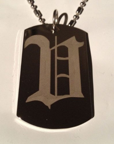 Letter V OLD English Font Initial - Military Dog Tag, Luggage Tag Key Chain Metal Chain Necklace