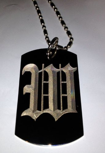 Letter W OLD English Font Initial - Military Dog Tag, Luggage Tag Key Chain Metal Chain Necklace