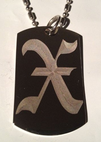 Letter X OLD English Font Initial - Military Dog Tag, Luggage Tag Key Chain Metal Chain Necklace