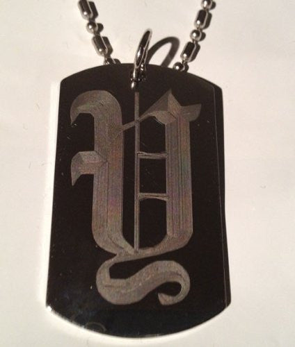 Letter Y OLD English Font Initial - Military Dog Tag, Luggage Tag Key Chain Metal Chain Necklace