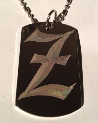 Letter Z OLD English Font Initial - Military Dog Tag, Luggage Tag Key Chain Metal Chain Necklace