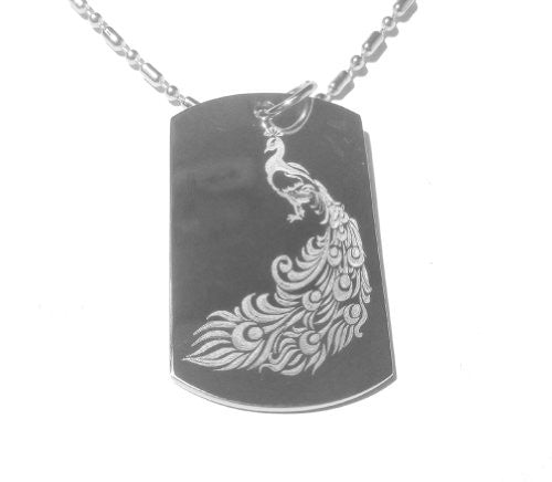 Peacock Bird Sexy Tattoo Logo Symbol - Military Dog Tag, Luggage Tag Metal Chain Necklace