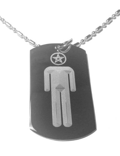 Pegan Peganism Pentagram Person Religion Religous Logo Symbol - Military Dog Tag, Luggage Tag Metal Chain Necklace
