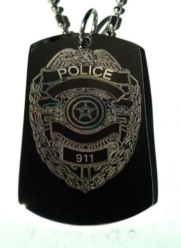 United States of America Police Badge Logo - Military Dog Tag Luggage Tag Key Chain Metal Chain Necklace