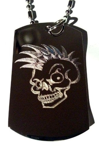 Punk Rocker Mohawk Hair Scary Skull Logo Symbols - Military Dog Tag Luggage Tag Key Chain Metal Chain Necklace