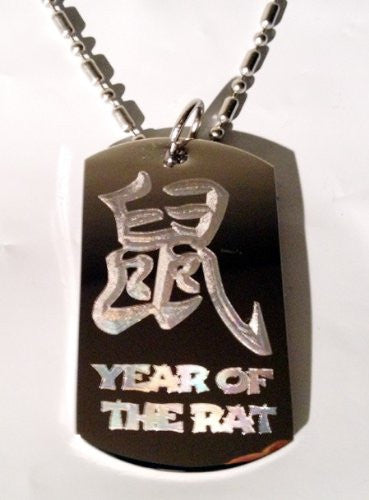 Chinese Calligraphy Character Year of the RAT Zodiac Logo Symbols - Military Dog Tag Luggage Tag Key Chain Metal Chain Necklace