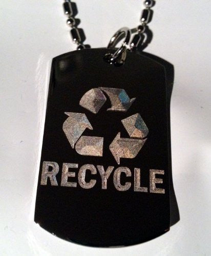 Reduce Recycle Reuse Save Mother Earth Logo Symbols - Military Dog Tag Luggage Tag Key Chain Metal Chain Necklace