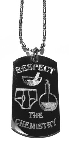 'Respect The Chemistry' Whitey Tighty Underwear & Cooking Bottles TV Show - Military Dog Tag Metal Chain Necklace