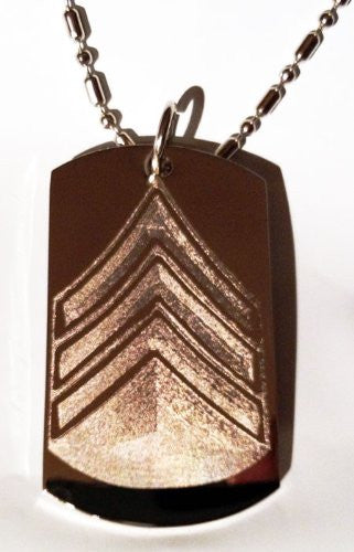 Army Military Officer Rank Sargeant Logo Symbol - Military Dog Tag Luggage Tag Key Chain Keychain Metal Chain Necklace